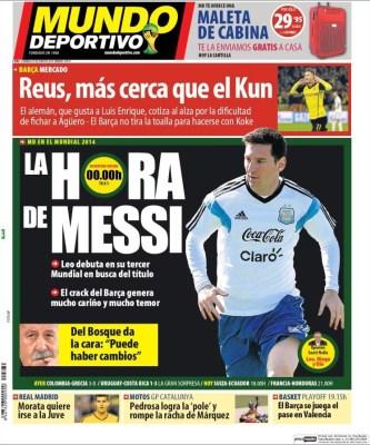 Portada Mundo deportivo, Messi debuta con argentina mundial brasil 2014