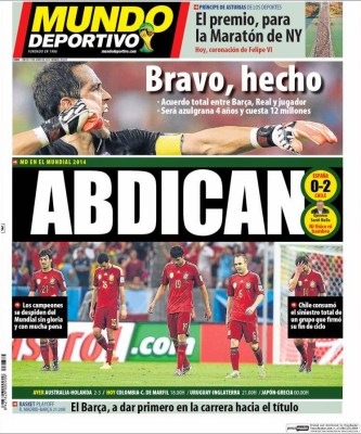 Portada Mundo Deportivo: España eliminada del Mundial Brasil 2014