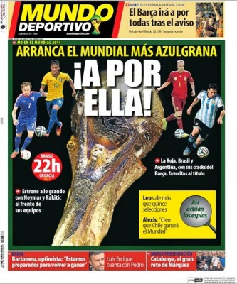 Portada diario Mundo Deportivo. Inicio Mundial Brasil 2014