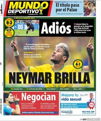 Portada Mundo Deportivo: Neymar brilla ante Camerún mundial brasil 2014