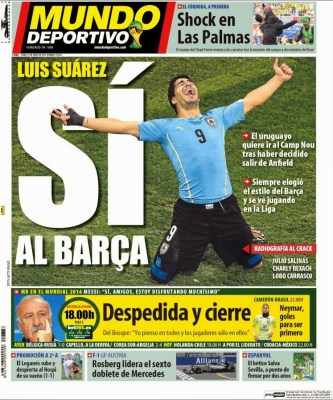 Portada Mundo Deportivo 23 junio 2014 luis suarez