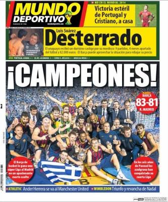 Portada Mundo Deportivo: Luis Suárez sancionado, queda fuera del Mundial de Brasil 2014 portugal eliminada
