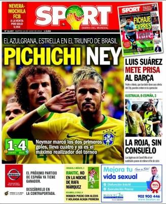 Portada Sport: Neymar brilla ante Camerún mundial brasil 2014