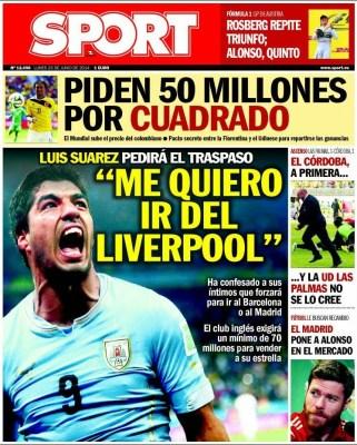 Portada Sport 23 junio 2014 mundial brasil suarez