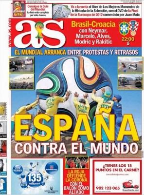 Portada diario AS. Inicio Mundial Brasil 2014
