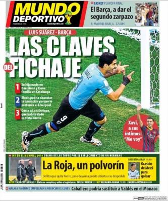 Portada Mundo Deportivo. Luis Suarez al Barça