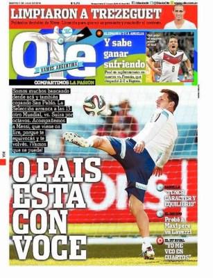 Portada Olé: Hoy Argentina vs. Suiza