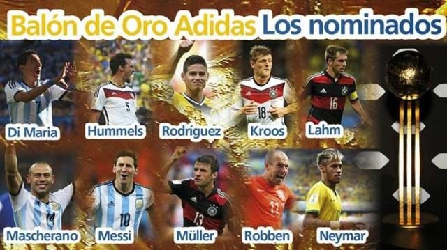Candidatos Balón de Oro Mundial Brasil 2014