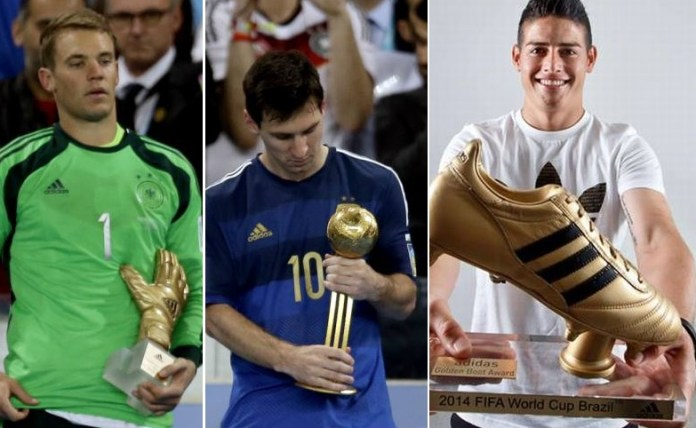 Messi Balón de Oro, Neuer Guante de Oro, James Bota de Oro   Mundial 2014