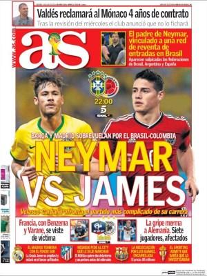Portada As: comienzan los  cuartos final del Mundial Brasil 2014