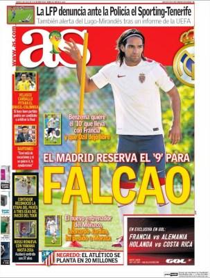 Portada AS: Falcao al Madrid