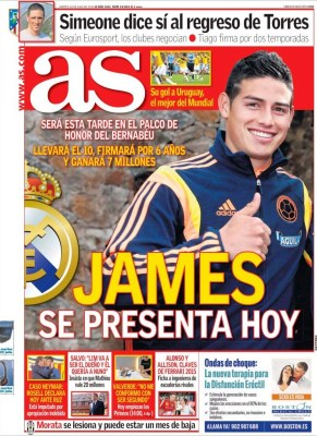 Portada AS: presentan a James Rodríguez en el Bernabéu