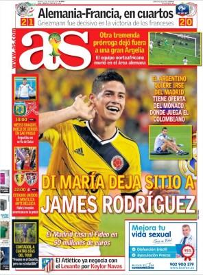 Portada AS: El Madrid quiere a James Rodríguez