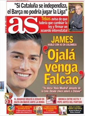 Portada AS: James quiere a Falcao