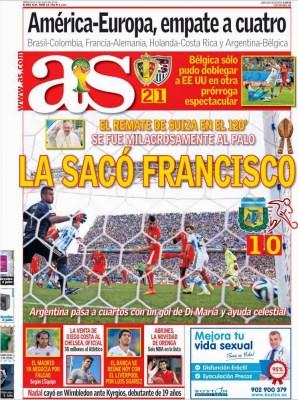 Portada AS: Argentina 1-Suiza 0 Mundial Brasil 2014