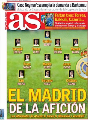 Portada AS: el 11 ideal del Madrid