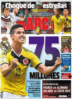 Portada Marca: 75 millones por James comienzan cuartos final mundial 2014