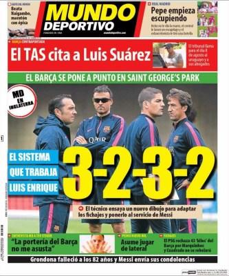 Portada Mundo Deportivo: Luis Enrique cambia el esquema del Barça