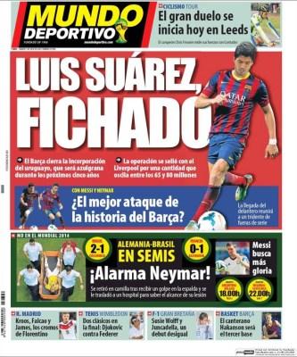 Portada Mundo Deportivo, lesión Neymar contra Colombia, Mundial Brasil 2014