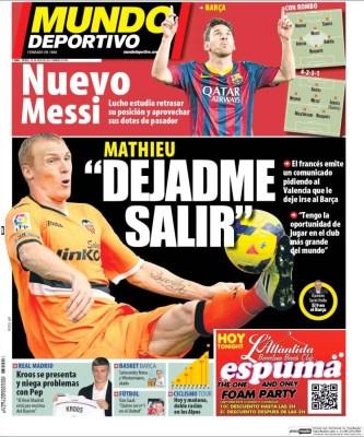Portada Mundo Deportivo: nueva posición para Messi