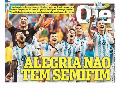 Portada Ole: Argentina pasa a semifinales del Mundial de Brasil