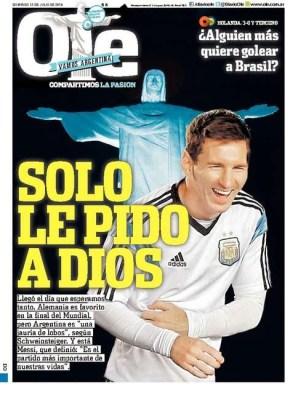 Portada Olé: Final del Mundial Brasil 2014 Alemania vs. Argentina en Maracaná