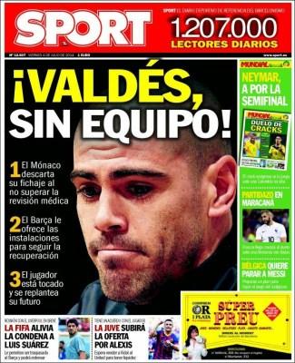 Portada Sport: Valdés sin equipo