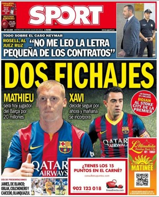 Portada Sport: Xavi se queda en el Barça
