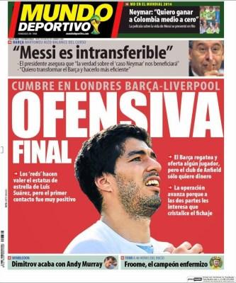Portada Mundo Deportivo: Cumbre en Londres Barça-Liverpool por Suárez