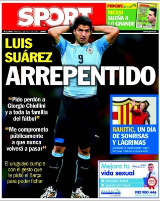 Portada Sport :Luis Suárez pide perdón mordisco Chiellini
