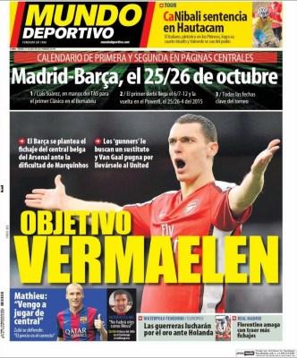 Portada Mundo Deportivo: 26 de octubre Madrid-Barça