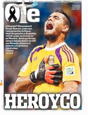 Portada Ole: Argentina finalista Mundial Brasil 2014 tras vencer a Holanda en los penales sergio romero