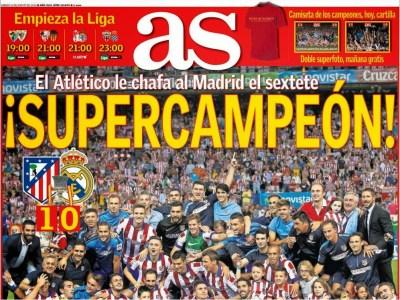 Portada AS: El Atlético Madrid Campeón Supercopa España 2014