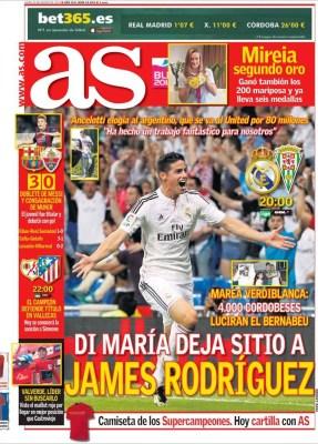 Portada AS: Di María se va del Madrid y ficha por el Manchester United