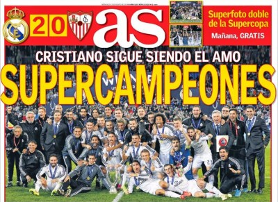 Portada AS: Real Madrid Campeón Supercopa de Europa