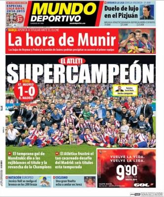 Portada Mundo Deportivo: El Atlético Madrid Campeón Supercopa España 2014