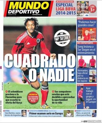 Portada Mundo Deportivo: Cuadrado o nadie