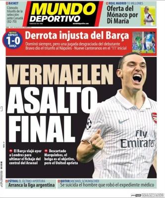 Portada Mundo Deportivo: el Barça cae ante el Nápoles