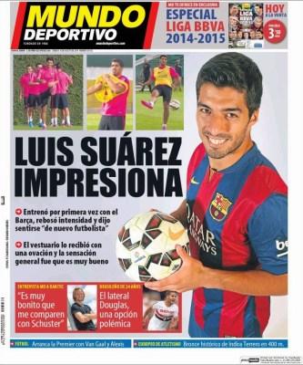 Portada Mundo Deportivo: Primer entrenamiento de Luis Suárez