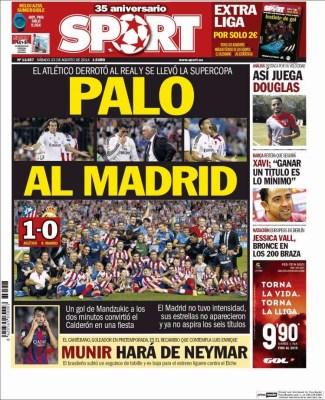 Portada Sport: El Atlético Madrid Campeón Supercopa España 2014
