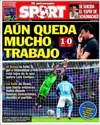 Portada Sport: el Barça cae ante el Nápoles