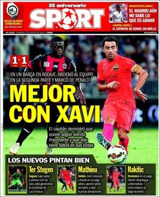 Portada Sport: Niza 1-Barça 1