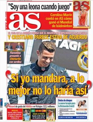 Portada AS: Cristiano Ronaldo Critica a Florentino