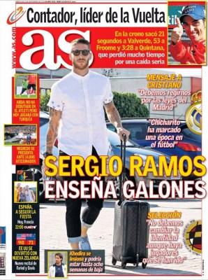 Portada AS: Ramos responde a Ronaldo, Florentino molesto con las críticas