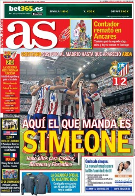 Portada AS: Simeone manda en Madrid