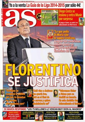 Portada AS: Florentino vs. Di María