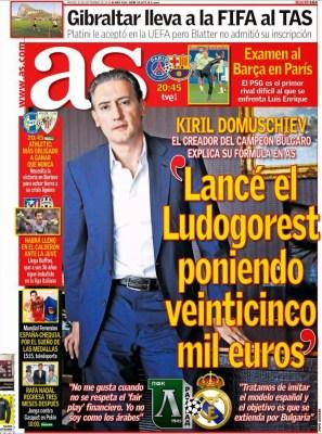 Portada AS: Ludogorets vs. Real Madrid