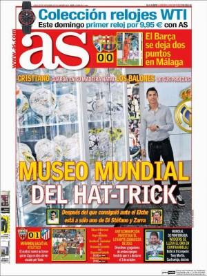 Portada AS: Cristiano Ronaldo y su museo del hat-trick
