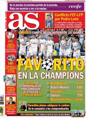 Portada AS:  los favoritos para la Champions League