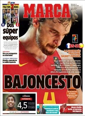 Portada Marca: España eliminada del Mundial de Basket